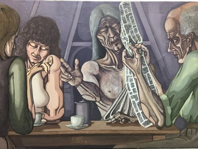 Lot 126 - J. Maskell, Suffolk School, 1970s oil on canvas - Figures at a Table, signed and dated 1975, unframed, 112cm x 175cm