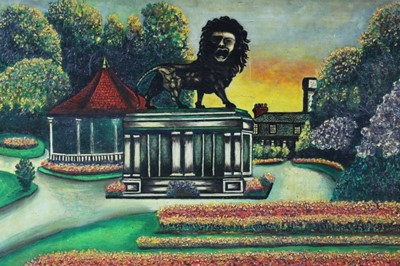 Lot 139 - Mid 20th century oil on board - The Lion Statue, indistinctly signed, framed, 40cm x 49cm