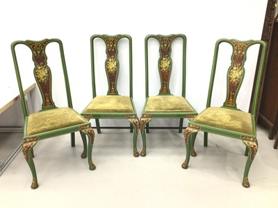 Lot 123 - Set of four green painted dining chairs with two rush seated chairs
