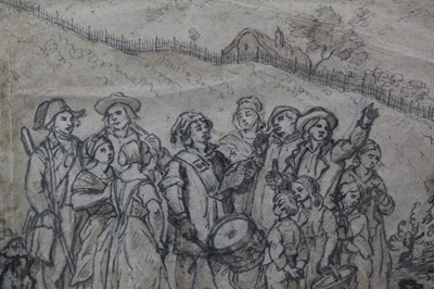 Lot 58 - 18th century sketch, Drummer and Crowd  Provenance: Parker Gallery