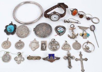 Lot 28 - Group silver and white metal jewellery and wristwatch