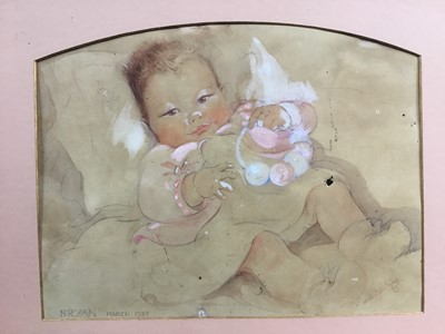 Lot 104 - Eileen Alice Soper (1905-90), watercolour of a baby, 1934 and signed