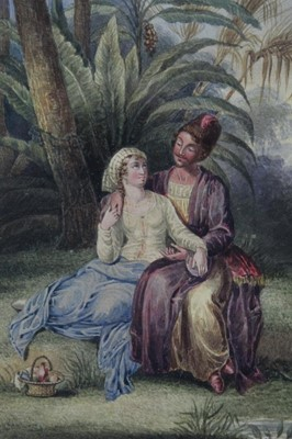 Lot 57 - Early 19th century watercolour of courting couple, signed with monogram