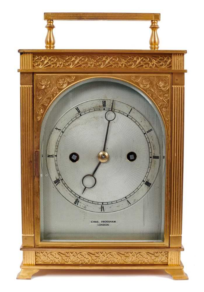 600 - Fine quality late 19th/early 20th century Charles Frodsham mantel clock with eight day, twin fusee movement and engraved lever escapement, striking on a bell, backplate signed W & H Sch. Silvered e...