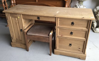 Lot 114 - Modern pine desk with three drawers and cupboard below together with an oak piano stool