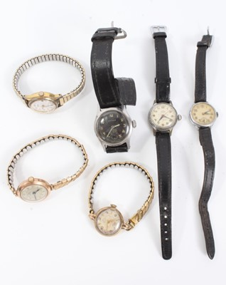 Lot 50 - Group of six vintage ladies wristwatches including two 9ct gold cased watches