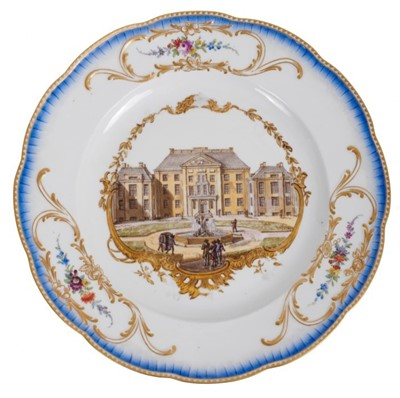 Lot 172 - A Meissen plate from the Stadhouder William V service, circa 1772-74, blue crossed swords and dot mark, the centre painted with a view of 'Het Prinsen Lusthuys het Loo van vooren te zien', titled o...