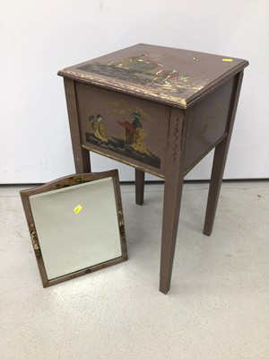 Lot 121 - Oriental painted sewing table with mirror H63, W35.5cm mirror H35, W28.5cm