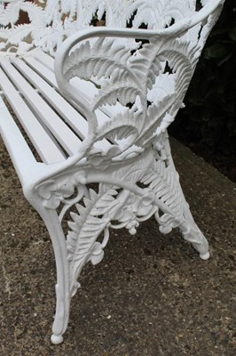 Lot 1489 - Good large Victorian cast iron garden fern and blackberry pattern bench by Coalbrookedale