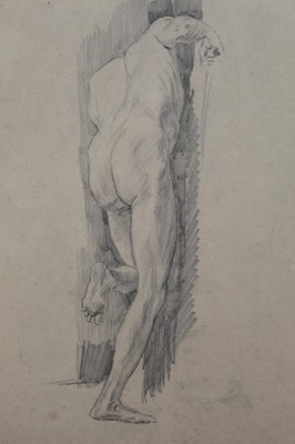 Lot 130 - Group of five early/mid 20th century English School pencil life drawings depicting a male nude, framed, 31cm x 25cm