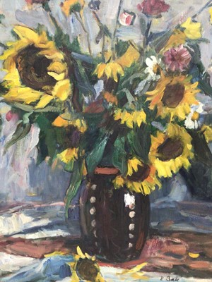 Lot 92 - Janos P. Bak (1913-1981) - oil on canvas - still life of sunflowers and summer flowers in stoneware vase