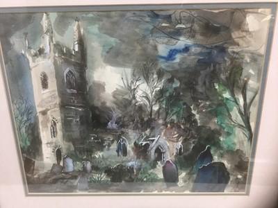 Lot 129 - John Piper style watercolour of a Church