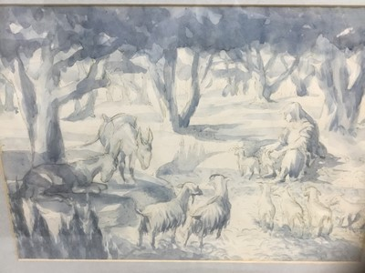 Lot 128 - Old master style watercolour of a figure and animals