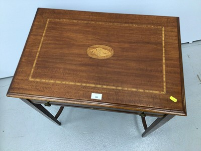 Lot 38 - Edwardian style inlaid mahogany side table with single drawer