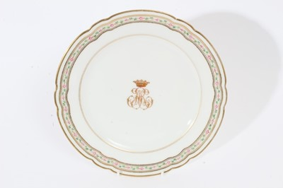 Lot 56 - French porcelain plate with gilt crown and initials to centre