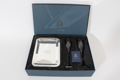 Lot 65 - H.M. Queen Elizabeth II 2007 staff Christmas present - Champagne flutes and tray cased