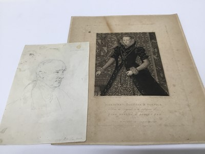 Lot 101 - Pettro William Tomkins (1760-1840) pencil, portrait of a Gentleman, and engraving Margaret Duchess of Norfolk