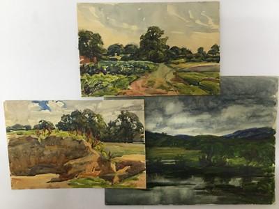 Lot 121 - Three early 20th century landscape watercolours, inscribed verso - Ella Steveking Mrs Ella Crum 1904