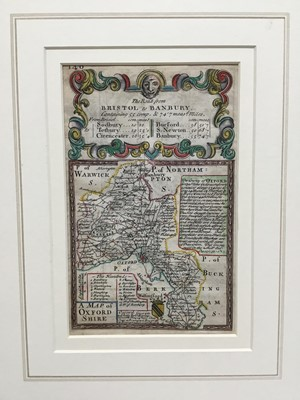 Lot 113 - 18th century hand coloured engraved miniature map of Oxfordshire