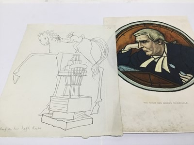 Lot 120 - Helen Kapp (1901-1978) pen and ink 'Getting in his high horse' signed verso, 39 x 23cm, and print of Rt Hon Baron Merrivale signed Edmond X Kapp 1925 signed