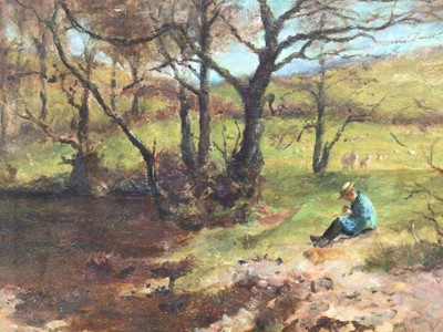 Lot 151 - Lawrence Carrington Grubbe  (late 19th / early 20th century) Spring in Wales title and name in pencil to back