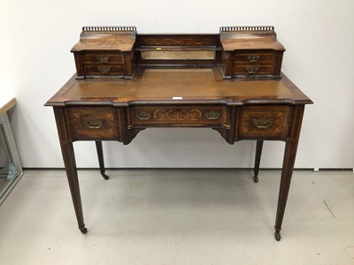 Lot 47 - Edwardian rosewood amd inlaid desk by James Schoolbred and Co
