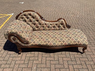 Lot 132 - Victorian rosewood chaise longue