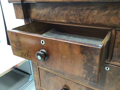 Lot 28 - 19th century mahogany chest with frieze drawer, two short and three long graduated drawers below on turned feet