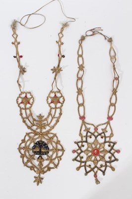 Lot 67 - Two Indian Royal Coronation / Procession decorations of embroidered bullion work