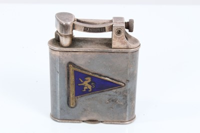 Lot 11 - Dunhill lighter with applied enamel pennant for Royal Harwich Yacht Club and presentation inscription, dated 1961