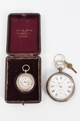 Lot 13 - Late 19th century silver pocket watch by Kendal & Dent, together with a late 19th century Swiss silver fob watch in original box