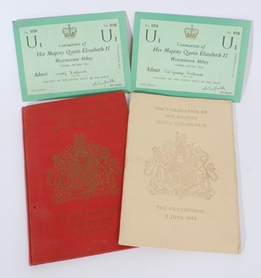 Lot 62 - The Coronation of H.M. Queen Elizabeth II, 2 June 1953- two entrance tickets, ceremonial and  Order of  Service