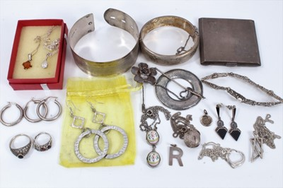 Lot 10 - Group silver and white metal jewellery to include two silver bangles, pendants, chains, earrings, gem set ring and silver compact
