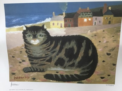 Lot 106 - *Mary Fedden (1915-2012) signed limited edition print, 'Cat on a Cornish Beach', 1991, 424 / 500, published by Bow Art, unframed, 35cm x 50cm