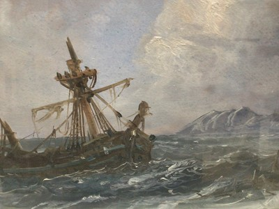 Lot 64 - Pair of late 19th century oils on board - shipping and a shipwreck off the coast, 23cm x 45cm, in glazed frames