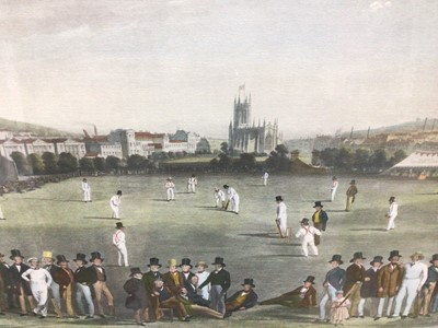 Lot 100 - 19th century-style coloured print - The Cricket Match between Sussex & Kent, at Brighton, 48cm x 66cm, in glazed gilt frame