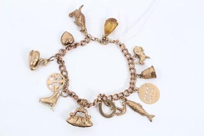 Lot 1 - 9ct gold charm bracelet