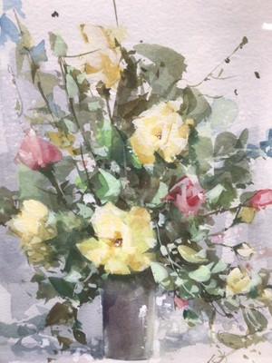 Lot 148 - D. Brown, contemporary, watercolour still life, initialled, 25cm x 20cm, togthwer with three signed prints by Brown, each framed and glazed (4)