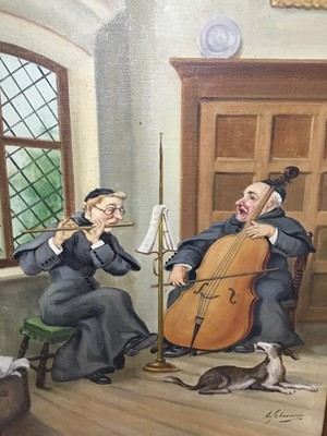 Lot 26 - A. Schneider, pair of oils on board - Monks in interiors playing musical instruments and reading, signed, 70cm x 50cm, in oak frames