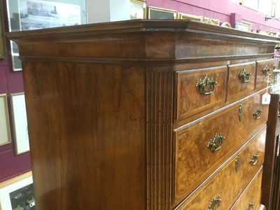 Lot 1385 - Fine early 18th century walnut chest on chest
