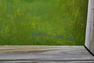 Lot 87 - Pat Jourdan (Contemporary) oil on board, Back garden