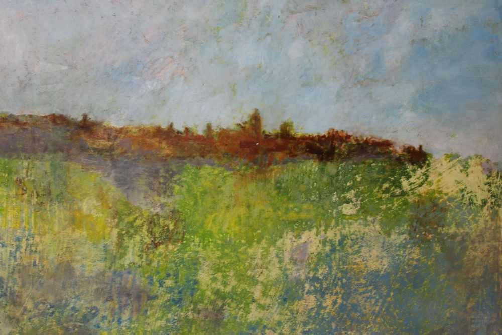 Lot 86 - Pat Jourdan (Contemporary) oil on board, The edge of the cemetery