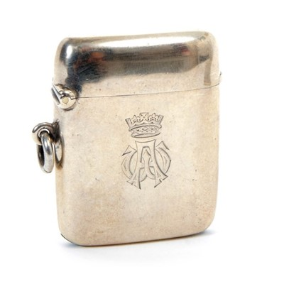 Lot 3 - H.R.H. Prince Arthur Duke of Connaught, Royal presentation silver vesta case with engraved Crowned AW cipher and inscription 'Presented to A.Gordon  by H.R.H. The Duke of Connaught 1919' ( Birmingh...
