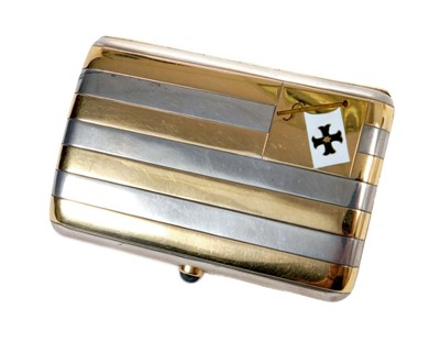 Lot 5 - Good quality Edwardian silver and yellow metal striped cigarette case with enamelled pennant and cabochon blue stone button release , with presentation inscription to gilded interior' Minima Yacht...