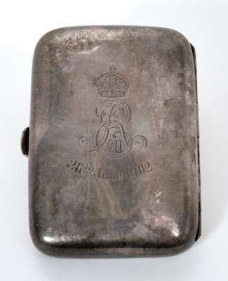 Lot 6 - The Coronation of King Edward VII, silver cigarette case with engraved Crowned ER VII cipher and '26th June 1902' and engraved arms of the Cutlers Company (Sheffield 1901, Walker Hall) 9 x 6.5 cm