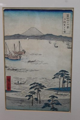 Lot 1241 - Hiroshige woodblock prints, views of Kurodo Bay in Kazua Province, Plumpark in Kameido and Nissake view from Soyonon Kyame  Provenance: purchased by the vendors late parents in Kyoto 1952