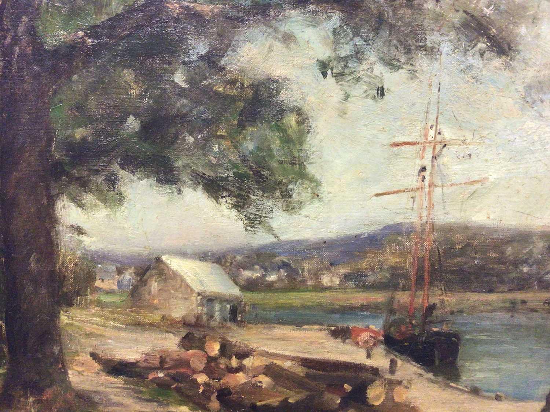 Lot 12 - Manner of Harold Harvey oil on canvas, Harbout scene