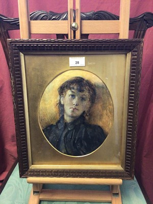 Lot 28 - Peter Leslie, watercolour portrait of a young woman, oval