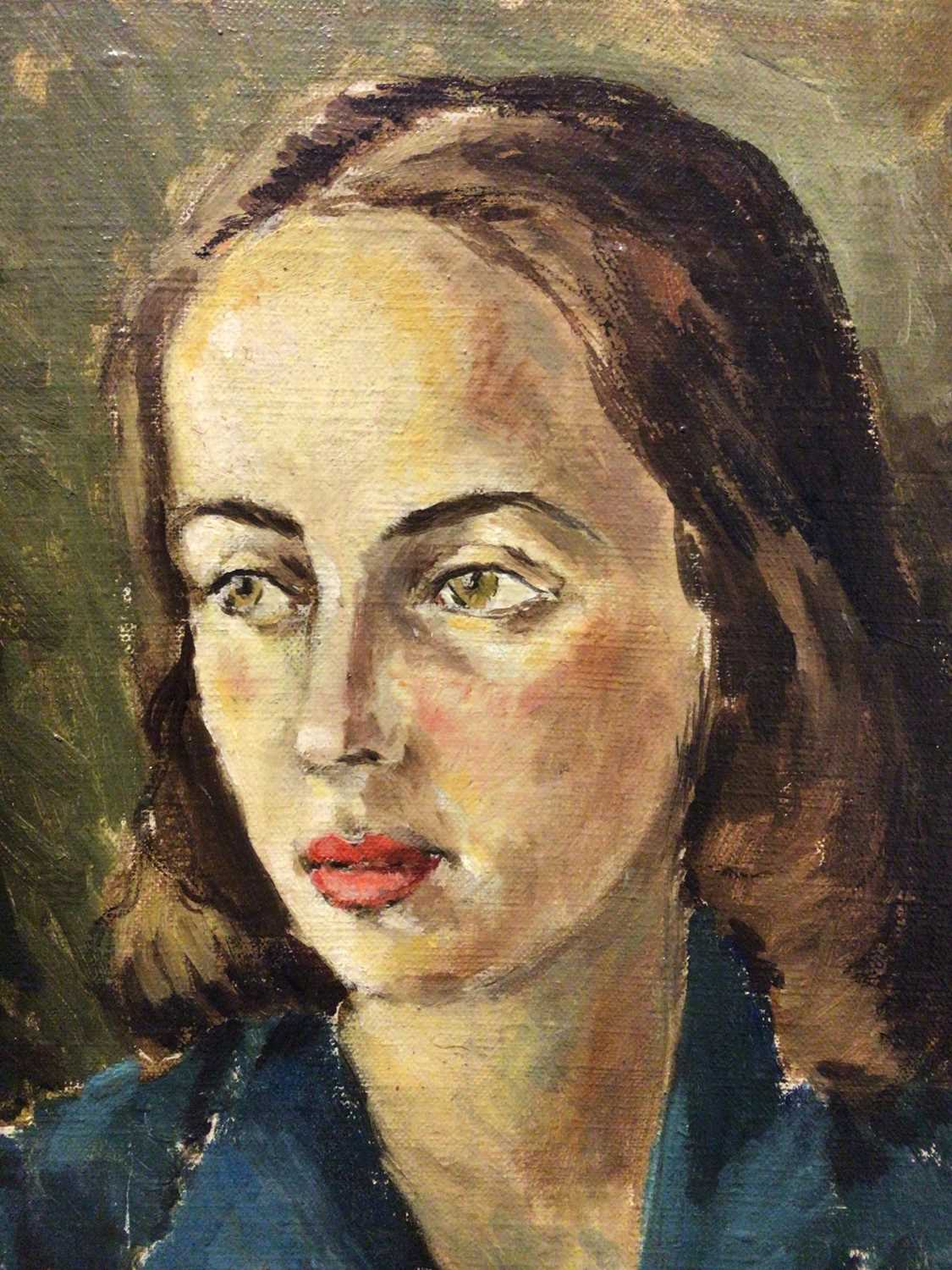 Lot 10 - Cecil Riley (1917-2015), oil on canvas portrait of a young woman