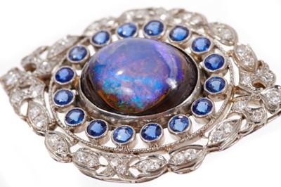 Lot 583 - Fine Edwardian black opal sapphire and diamond oval plaque brooch
